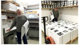 Ken inspecting sheets just off the press at Steidl's Print Plant in Germany