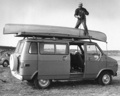 Jerry Lebeck atop his van