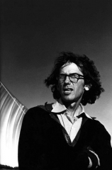 Christo and His Running Fence, Petaluma, Ca, 1976, by Morrie Camhi, ©Estate of Morrie Camhi, Courtesy of Barry Singer Gallery
